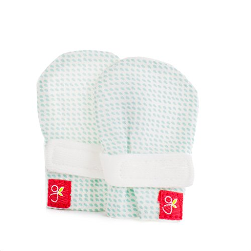 Goumikids Goumi-Preemie Mitts - Soft Stay On Scratch Mittens for Preemies (Preemie, Drops (Aqua))