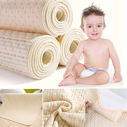 MBJERRY Infant Bamboo Fiber Waterproof Changing Pad - Natural Organic Cotton Mattress Pad Cover - Reusable Portable Changing Mat for Home and Travel (39.4 x 47.2 Inch, Brown & Green & White Stripes)