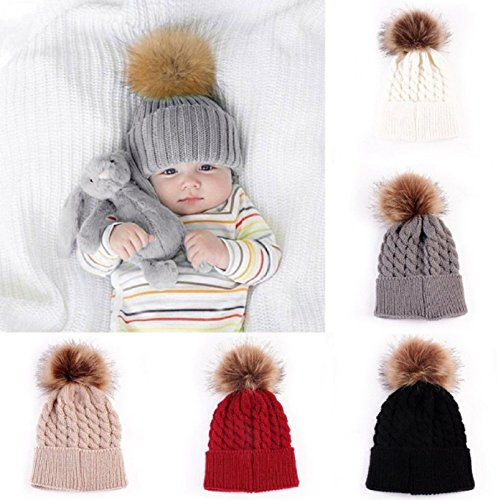 Hot Sale! 5 Color Baby Toddler Girls Boys Warm Winter Knit Beanie Fur Pom Hat Crochet Ski Ball Cap (Khaki)
