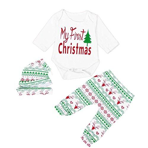 Baby Boys GirlsMisaky Toddler 4pcs Christmas Set Bodysuits Leggings Headband Hat Outfits (0-3M, White)