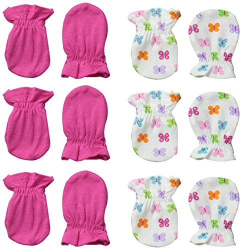 Always Baby Baby-Girls Butterfly 6 Piece Mittens Bundle, Butterfly, 0-3 Months