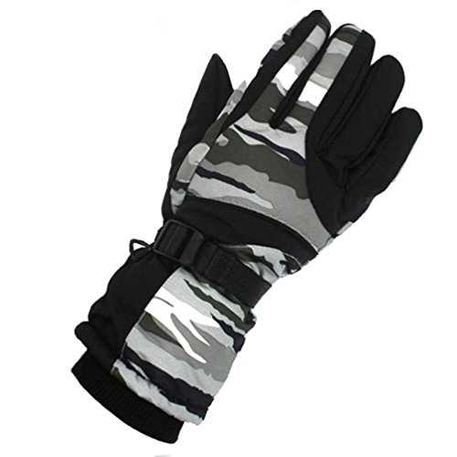 Ikevan 1 Pair Winter Outdoor Sports Driving Mens Gloves Windproof Waterproof Ski Full Finger Gloves Thicker Thermal Fleece Thickened and Cashmere Mitten (Gray)