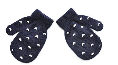 Baby Gloves Dot Star Heart Pattern Toddler Kids Boy Girl Knitting Warm Mittens 3-6Y (Heart, Navy)