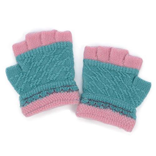 Flammi Kids Toddler Warm Knit Half Finger Gloves (Aqua Blue)
