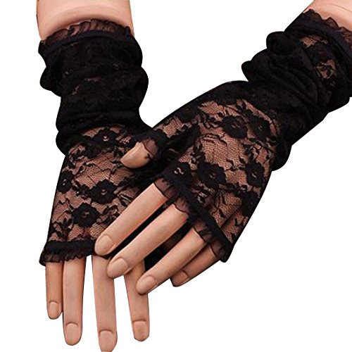 Hollow-Out Fingerless Gloves Skid Resistance Pattern Lace Fingerless Gloves