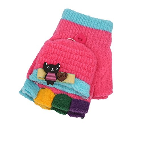 AYUBOOM Unisex Kids Fingerless Gloves with Mitten Cover ,Convertible Gloves, Flip Top Gloves -9 colors (Rose Red)