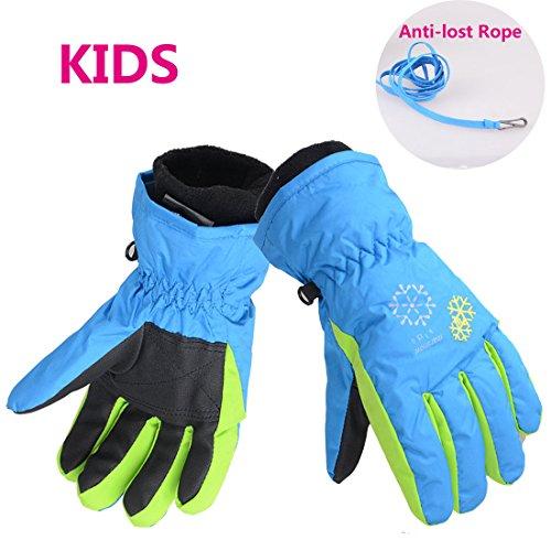 81f958f97 AMYIPO Kids Snow Gloves Waterproof Windproof Winter Warm Gloves Ski Snowboard  Gloves Wind Outdoor Cycling Work Gloves for Children (Blue, XS)