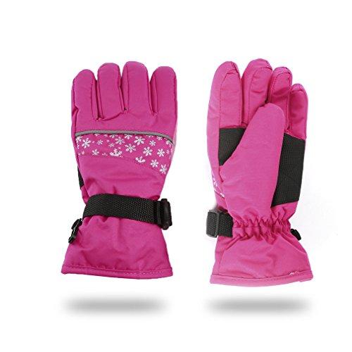 FISOUL Kids Winter Snow Ski Gloves Waterpoof Children Snowboard Gloves with Adjustable Wrist Strap (M, Peach pink)