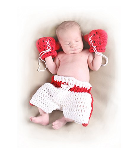 Newborn Baby Photography Outifts Props, Infant Crochet Boxer Boxing Gloves
