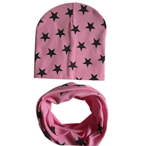 Mikey Store Baby Hat Scarf Infant Children Scarf Child Scarf Hats Caps (Pink)