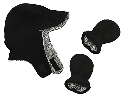 N'Ice Caps Little Boys and Baby Sherpa Lined Fleece Flap Hat Mitten Winter Set (6 - 18 Months, Black - Infant)