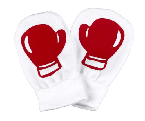 Spoilt Rotten - Red Boxing Baby 100% Organic Cotton Scratch Mittens