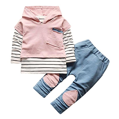 Coerni Premium Baby Kids Cute Cotton Warm Hoodie+Pants Outfits Set of 2 (18 Months, Pink)