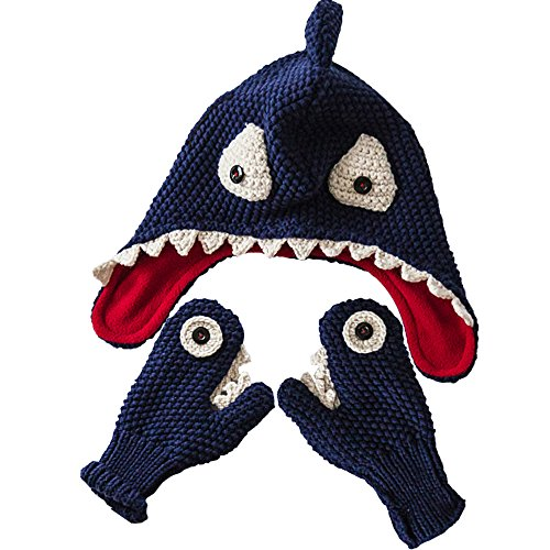 E.mirreh Package of Knitted Beanie Warm Hat and Gloves Baby Toddler Boy Handmade Shark Blue M