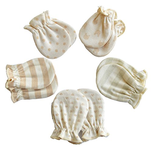 Scratch Free Newborn Mitten Organic Cotton Mitts Baby Glove for Infant 0-6 Month Unisex (Sumer 5 Pairs)