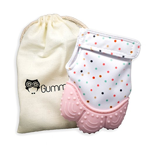 Gummy Glove - TEETHING MITTEN - Soothing Gum Relief Toy Glove & Natural Remedy for Babies & Infants - Baby Shower Gift + BONUS Hygienic Travel Storage Pouch (Pink)