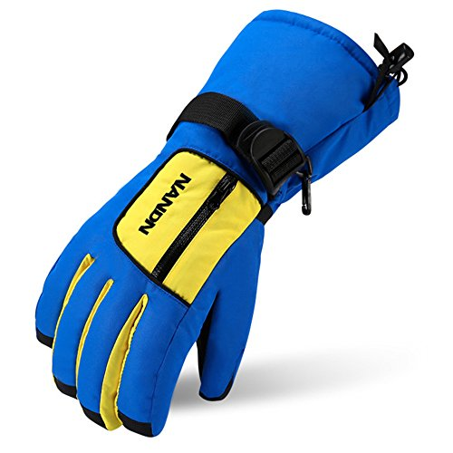 Magarrow Boys and Girls Winter Warm Windproof Snowboard Gloves Waterproof Outdoor Ski Gloves (Blue,XS)