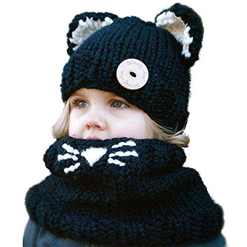 Wua Kids Warm Winter Beanies Baby Knitted Coif Hood Scarf Animal Ear Hats Beanies Caps (Black Kitten)