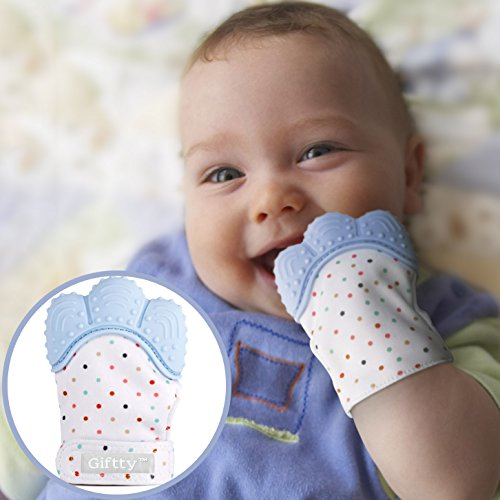 Baby Teething Mitten by Giftty, Self Soothing Teether & Teething Pain Relief Toy, Prevent Scratches Glove Stay on Babys Hand, Unisex for 0-6 months infant (1-Pack, Blue)