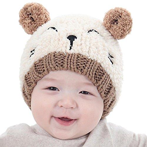 Hot Sale! Baby Boy Girls Cute Warm Knit Bear Hat Toddler Kid Winter Crochet Beanie Cap (Beige)