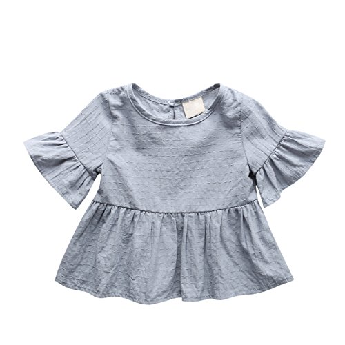 Baby Girl Dress, Lotus Leaf Style Toddler Dress / Dance Skirt for 1-4 Years,Grey,86(12-18 Month)