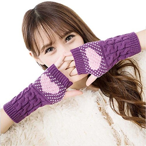 Ikevan Fashion Women's Knitting Wool Gloves Arm Warmer Fingerless Gloves Love Heart Dots Pattern Thicken Gloves Wrap Cuff Autumn Winter (Purple)