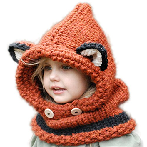 Wua Baby Kids Warm Winter Hat Crochet Knitted Caps Hood Scarves Skull Animal Beanies for Autumn Winter (Orange)