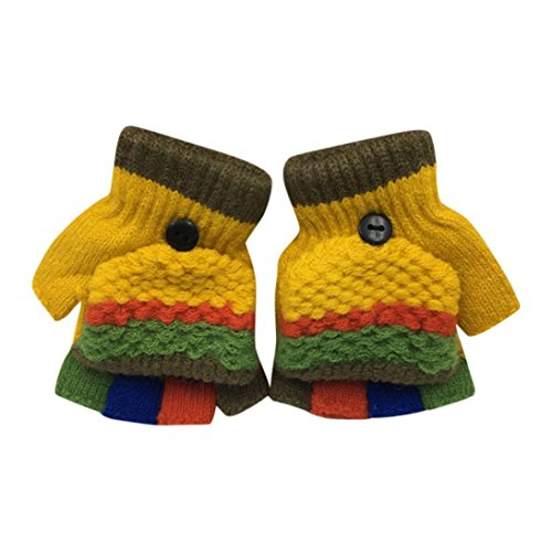 Toddler Baby Girls Cute Boys Thicken Winter Warm Patchwork Gloves With Mitten Cover (Yellow)