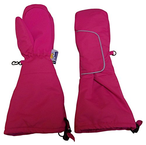 N'Ice Caps Kids Thinsulate Easy On Velcro Wrap Mittens with Elbow Length Cuff (2-3yrs, Fuchsia)