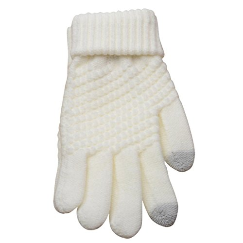 Hot Sale !!! Women's Winter Gloves ,Jushye Mens Unisex Knit Wool Man Women Winter Keep Warm Mittens Gloves Ideal for Driving, Cycling, Motorcycle, Camping etc (white)