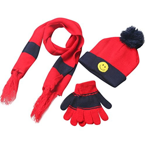 Cywulin Baby Wool Blend Hat, Warm Winter Smile Scarf Neck Scarves Hat Gloves Sets (Red)