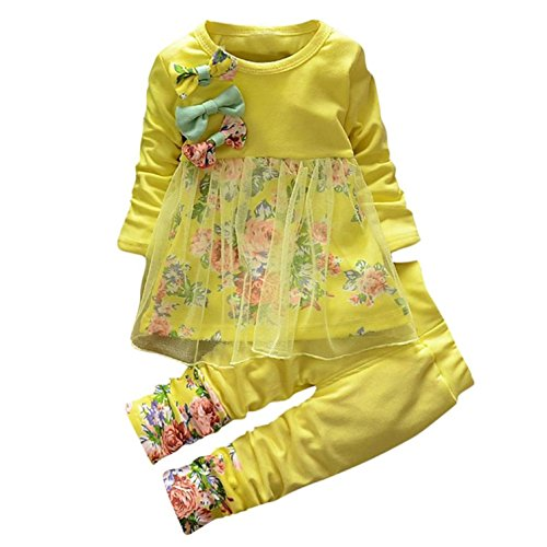 Baby Clothes Set, PPBUY Toddler Girls Floral T-shirt Dress + Pants 2PCS Outfits (12-18M, Yellow)