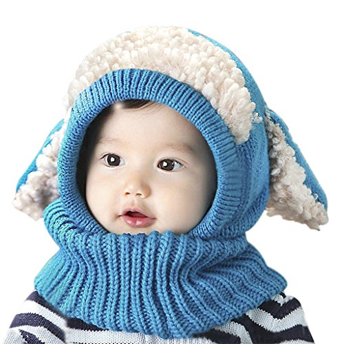 fb5a65c6cf029 Baby Kids Warm Winter Hat and Scarf Set Cute Thick Wool Crochet Knitted  Earflap Hooded Animal Ears Hat Scarf Beanie ...
