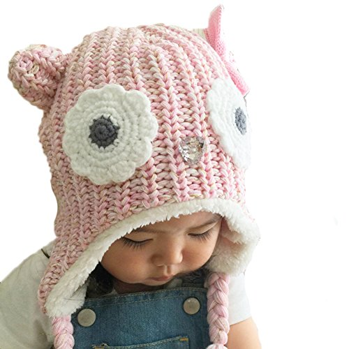 Cute Winter Warm Hats For Girls, Soft Kids Toddlers Ear Flap Crochet Beanie Hat (L(50-52CM) 3~5 Years, Pink Owl)