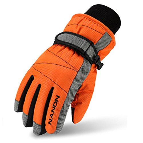 Magarrow Winter Warm Windproof Outdoor Ski Gloves Cycling Gloves For Children and Adults (Orange, Small (Fit kids 6-7 years old))