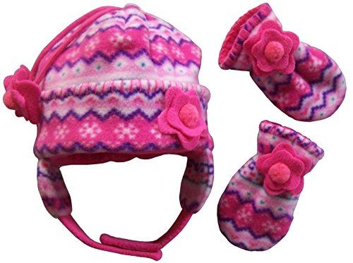 N'Ice Caps Girls Fair Isle Print Micro Fleece Hat And Mitten Set (6-18 months, fuchsia/pink/purple/turq/white - Infant)
