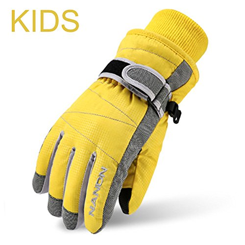 Magarrow Kids Winter Warm Windproof Outdoor Ski Gloves Cycling Gloves For Boys Girls and Adults (Yellow, Small (Fit kids 5-8 years old))