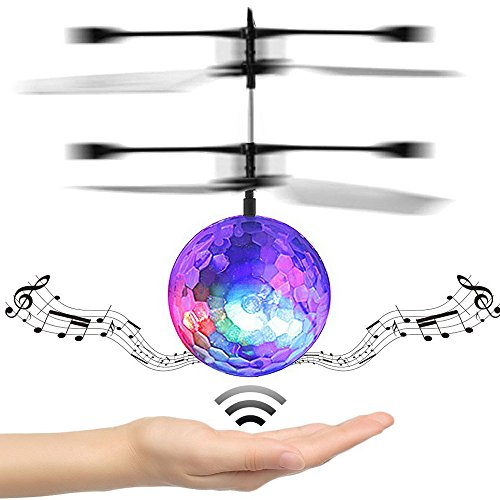 DORIC RC Flying Ball RC Drone Helicopter Ball Built-in Disco Music With Shinning LED