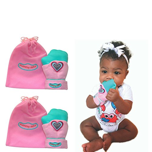 Yummy Mitt Teething Mitten (Non-Glow) PINK- Only Certified Cotton Teething Mitten- Self-Soothing Entertainment and Gives Pain Relief from Teething plus it's an Ideal Baby Shower Gift -SET OF TWO