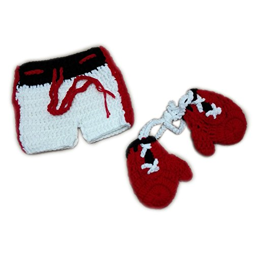 Fashion Unisex Newborn Baby Boys Photography Props Outfits Boxing Champion Pants Gloves