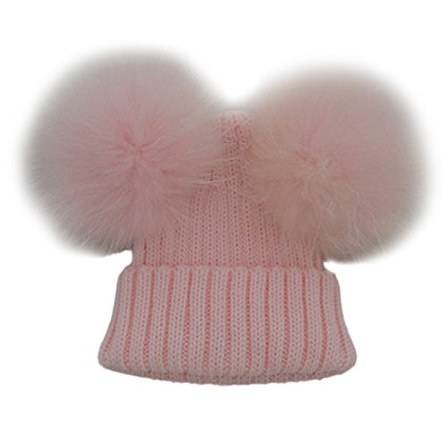 MIOIM Unisex Baby Boys Girls Wool Knit Hat Raccoon Fur Double Big Ball Pompom Bobble Ski Cap