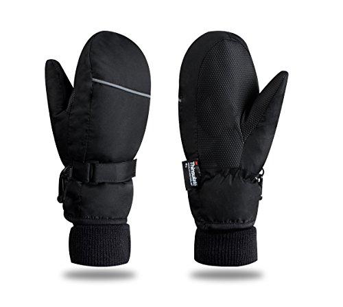 Kid's Ski Gloves Snowboard Snowmobile Waterproof Windproof 3M Thinsulate Winter Warm Snow Cold Gloves (M, Black)