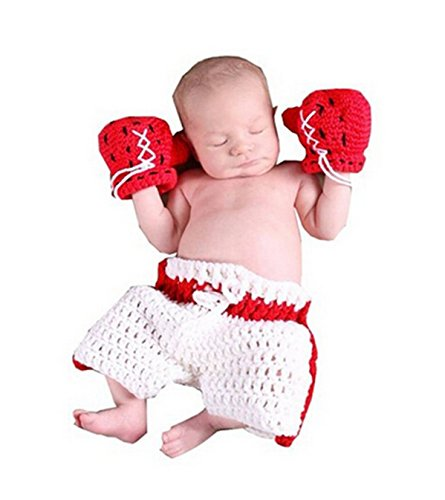 Ufraky Baby Photography Prop Boxing Costume Crochet Knitted Glove Pants (Style 12)