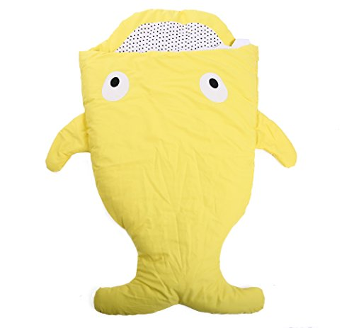 Shark Whale Baby Sleeping Bag Ages 0-36 months,Newborn Swaddling Sleepsacks , Cotton Unisex Nursery Toddler by QBLEEV, Warm Wrapping Skin-friendly Stroller Bedding Air-conditioned Yellow 38.6-Inc