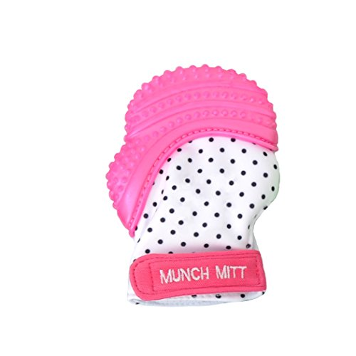 Munch Mitt Teething Mitten is Teether That Stays on Baby's Hand for Self-Soothing Pain Relief with Hygienic Travel / Laundry Bag, Pink Shimmer