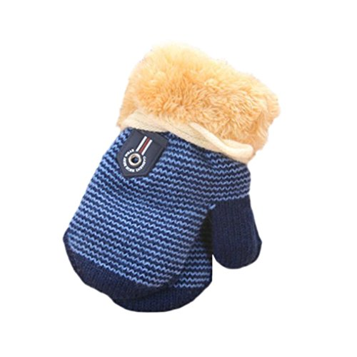 Baby Winter Warm Mittens,ChainSee Kids Boys Girls Christmas Cute Thicken Gloves (Dark Blue)