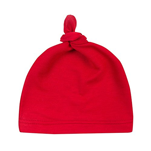 Menglihua Unisex Newborn Toddler Infant Cotton Soft Cute Lovely Adjustable Knot Hat Red One Size