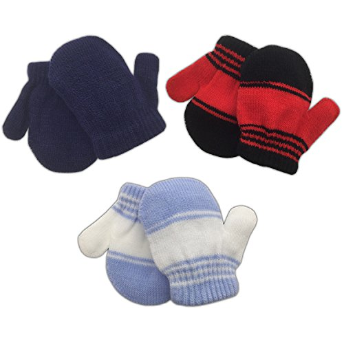 3 Pack Infant Baby Boys Mittens Warm Knitted for Winter - Navy, Red Stripe, Blue Stripe