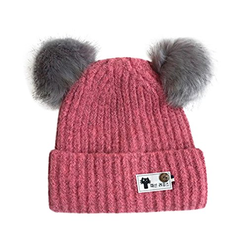 Forevv_Hat Forevv For 1-6 Years Old Baby Boys Girls Cute Knitted Double Faux Fur Pom Ball Hats (Pink, 1-6 Years Old)