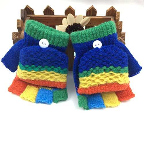 Hongxin Convertible Cotton Knitted Gloves For Kids 2-6 Years Fingerless Flap Warm Winter Mitten Multicolor (Dark Blue)